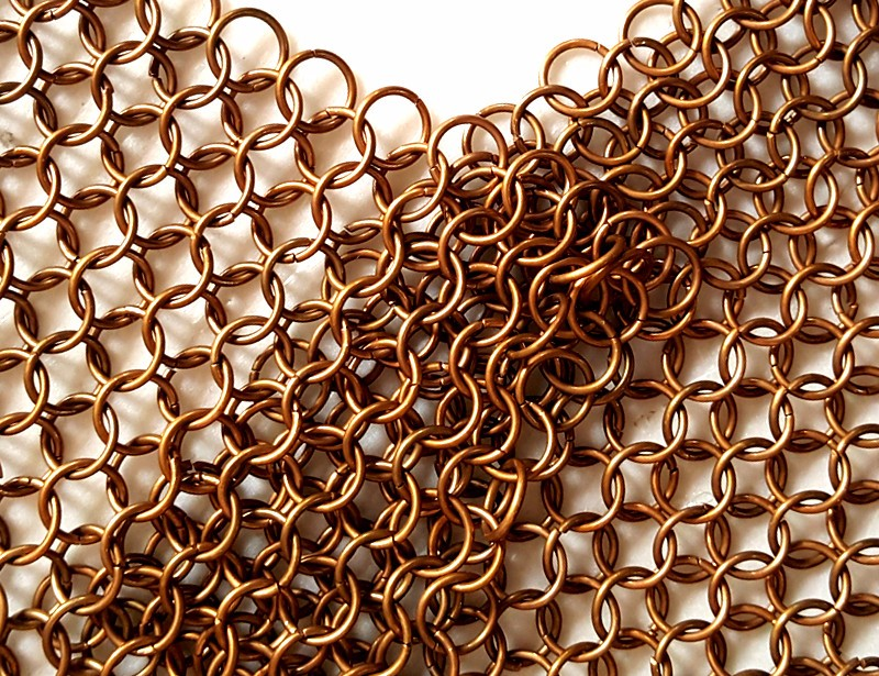 copper color chainmail ring mesh